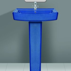Rustic Blue Wash Basin Pedestal