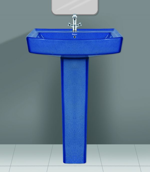Rustic Blue Wash Basin Pedestal